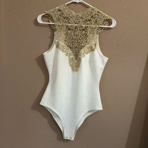 Elegant Gold and White Bodysuit